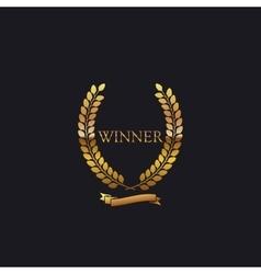 Golden winner award sign vector
