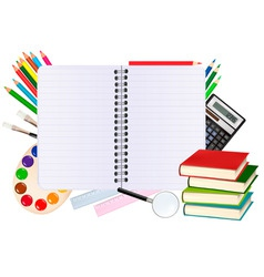 notebook with school supplies vector image