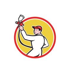 Painter Spray Paint Gun Side Circle Cartoon vector image