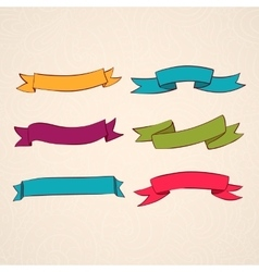set of ribbons vintage style design vector image