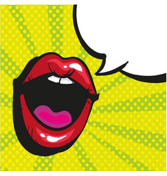 sexy open female mouth screaming pop art style vector image vector image