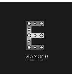Silver E letter vector image