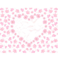 valentine s day card field and heart of pink vector image vector image