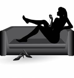 woman on the sofa vector image vector image