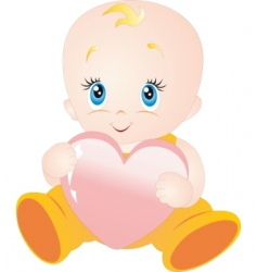 baby with heart vector image vector image