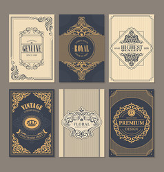 calligraphic vintage floral cards collection vector image vector image