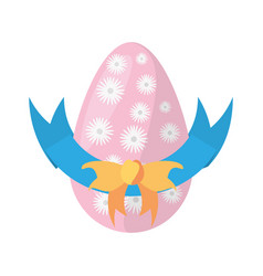 easter egg flowers bow decoration vector image