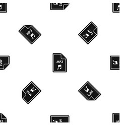 file mp3 pattern seamless black vector image vector image