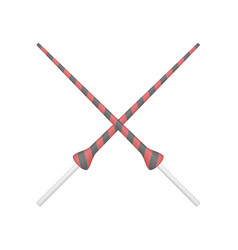 two crossed lances in red and black design vector image