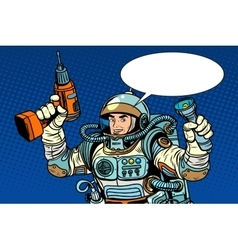 Astronaut with a drill and flashlight vector image vector image