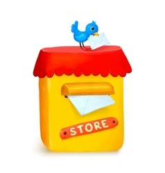 Cute little store yellow post box in cartoon style vector image vector image