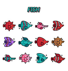fish cartoon concept icons vector image vector image