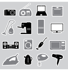 home electrical appliances stickers set eps10 vector image vector image