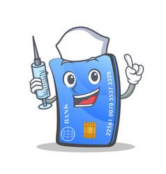 nurse credit card character cartoon vector image