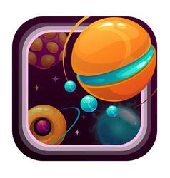 cartoon app icon with fantasy planets vector image