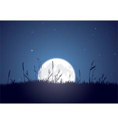 grassy moonrise vector image