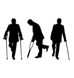 people with crutches vector image vector image