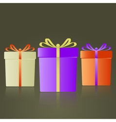 three colorful gifts with ribbons reflection eps10 vector image