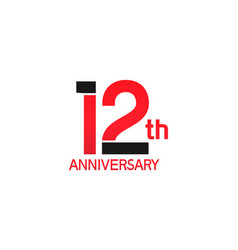 12 years anniversary logotype with black and red vector