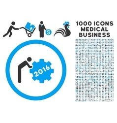 2016 Working Man Icon with 1000 Medical Business vector image