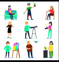 adult people hobbies set vector image