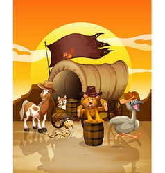 Animals at sunset vector image
