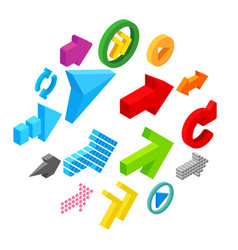 arrow sign isometric 3d icons vector image