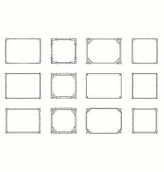 Art deco horizontal gold frames and borders set vector