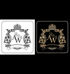 Aw initial letter with royal crown monarch vector