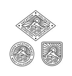 Beach with mountain and sun line art badge logo vector