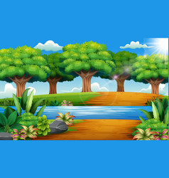 Beautiful park with rivers and green trees vector