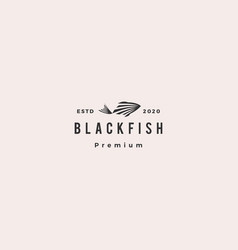 black fish logo hipster retro vintage icon vector image