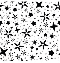 Black on wite starry night sky seamless vector