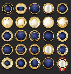 Blank gold and blue badges and labels collection 3 vector