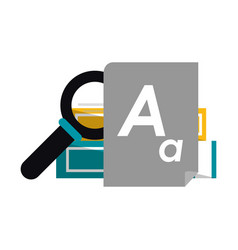 books piled with magnifying glass and document vector image