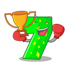 boxing winner number seven isolated on the mascot vector image