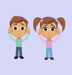 boy and girl with omission of the muscles of the vector image
