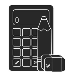 calculator math with pencil and eraser vector image