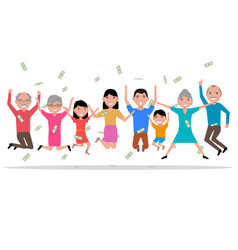 Cartoon happy people received the money vector