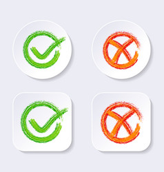 check mark icons on buttons vector image