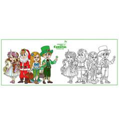 children in carnival costumes unicorn vector image