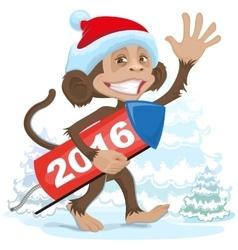 Christmas monkey wearing a Santa Claus brings vector image