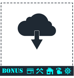cloud download icon flat vector image