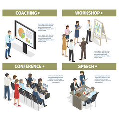 Coaching workshop conference and speech set vector