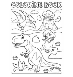 coloring book dinosaur subject image 9 vector image