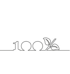 continuous line drawing 100 with growing sprout vector image