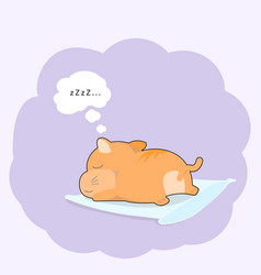 cute baby cat sleeping on pillow cartoon style vector image