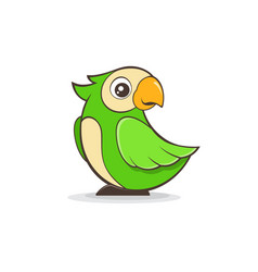 cute green parrot on white background vector image