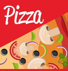 delicious italian pizza ingredients vector image