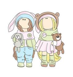 Dolls color set vector